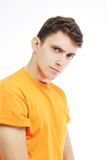 Portrait man with suspicious emotion. royalty free stock photography