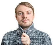Portrait of a man in sweater. Isolated on white Stock Image