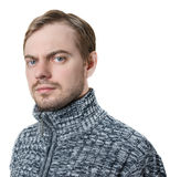 Portrait of a man in sweater. Isolated on white Stock Photography