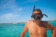 Portrait of man in swimming mask Royalty Free Stock Image