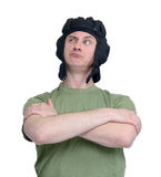 Portrait of a man in a tank helmet isolated on white background Royalty Free Stock Photography