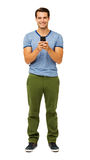 Portrait Of Man Text Messaging On Smart Phone Stock Photo