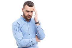 Portrait of man thinking hard Royalty Free Stock Images