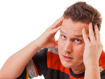 Portrait of a man thinking about something thoughtful expression Royalty Free Stock Photo