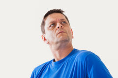 Portrait of a man of thoughtfully looks upwards Royalty Free Stock Photography