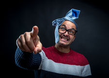 Portrait of  man with tie on his head isolated. Stock Image