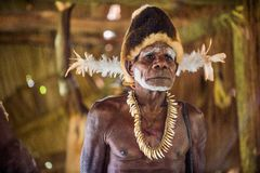 Portrait of a man from the tribe of Asmat people on Asmat Welcoming ceremony. Royalty Free Stock Image
