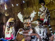 Portrait of a man from the tribe of Asmat people on Asmat Welcoming ceremony. Stock Photography