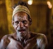 Portrait of a man from the tribe of Asmat people on Asmat Welcoming ceremony. Royalty Free Stock Photography