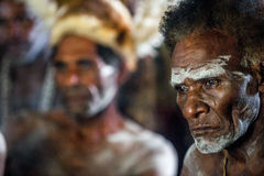 Portrait of a man from the tribe of Asmat people on Asmat Welcoming ceremony. Royalty Free Stock Images
