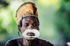Portrait of a man from the tribe of Asmat people on Asmat Welcoming ceremony. Stock Images