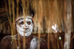 Portrait of a man from the tribe of Asmat people with ritual face painting Stock Photo