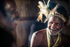 Portrait of a man from the tribe of Asmat people. Royalty Free Stock Photo