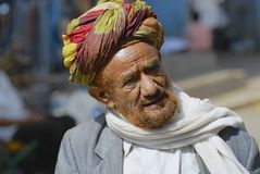 Portrait of a man in a turban at the street in Taizz, Yemen. Royalty Free Stock Photography