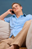 Portrait of a man using a cellphone. This is a portrait of a man using a cellphone royalty free stock photography