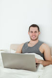 Portrait of a man using a notebook Royalty Free Stock Photography