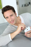 Portrait of man using smartphone Royalty Free Stock Images