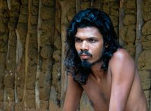 Portrait of the man of the Vedda tribe, indigenous nation of Ceylon Stock Image