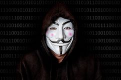 Portrait of man with vendetta mask isolated on black Royalty Free Stock Photography