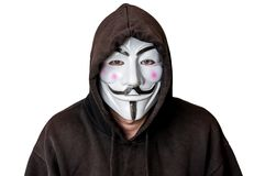 Portrait of man with vendetta mask isolated on white Royalty Free Stock Photo