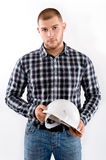 Portrait of a man wearing checkered shirt and helmet Stock Photography