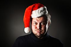Portrait of man wearing Santa hat Royalty Free Stock Photos