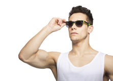 Portrait Of A Man Wearing Sunglasses. On White Background Stock Image