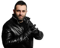 Portrait man on white background. Young man in a leather jacket Royalty Free Stock Photo
