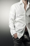 Portrait of man in white luxury shirt Royalty Free Stock Photography