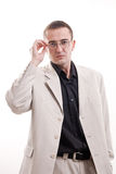 Portrait of man in white suit. Royalty Free Stock Images