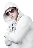 Portrait of man in white sweatshirt Stock Images