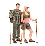 Portrait of a man and woman with backpacks Stock Images