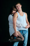 Portrait of man and woman are embrace each other Royalty Free Stock Photos