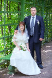 Portrait of man and woman in garden when married Royalty Free Stock Image