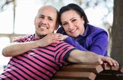 Portrait of a man and a woman happily embracing each other Royalty Free Stock Photos