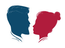 Portrait of man and woman. Head profile, silhouette. Wedding, love, people symbol. Hipster, vector illustration. Portrait of man and woman. Head profile Royalty Free Stock Photos
