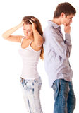 Portrait of man and woman, it is isolated. Stock Images