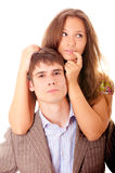 Portrait of man and woman, it is isolated. Royalty Free Stock Images