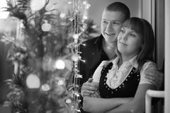Portrait of a man and a woman. Monochrome portrait of a men and a woman Royalty Free Stock Image