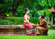 Portrait of man and woman in  traditional clothes. Royalty Free Stock Image