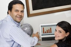Portrait of a man and woman working Royalty Free Stock Images
