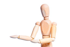 Portrait of man of wood mannequin showing Stock Photos