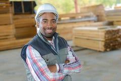 Portrait man in wood yard Stock Photography