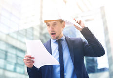 Portrait of man working outdoors Stock Photo