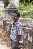 Portrait of a man. Working on the restoration of pagodas in Ma Au village in Bagan , Myanmar (Burma Stock Image