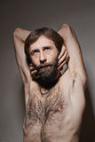 Portrait of the man of the yogi. The man of yogas with a big beard and mustaches Royalty Free Stock Photos