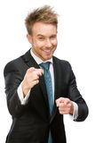 Portrait of manager pointing finger gesture Royalty Free Stock Photo