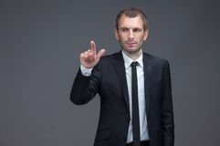 Portrait of manager pointing finger gestures Stock Photos