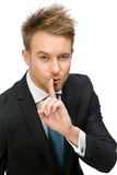 Portrait of manager silence gesturing Stock Image