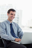 Portrait of a manager using a notebook Royalty Free Stock Image